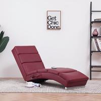 vidaXL Massage chaise longue kunstleer wijnrood