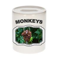 Bellatio Decorations Dieren liefhebber orang oetan spaarpot 9 cm jongens en meisjes - keramiek - Cadeau spaarpotten apen liefhebber