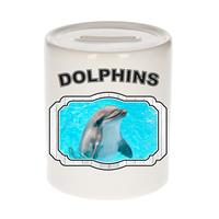 Bellatio Decorations Dieren liefhebber dolfijn spaarpot 9 cm jongens en meisjes - keramiek - Cadeau spaarpotten dolfijnen liefhebber