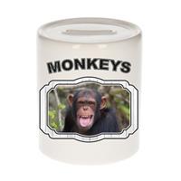 Bellatio Decorations Dieren liefhebber chimpansee spaarpot 9 cm jongens en meisjes - keramiek - Cadeau spaarpotten apen liefhebber