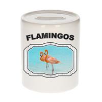 Bellatio Decorations Dieren liefhebber flamingo spaarpot 9 cm jongens en meisjes - keramiek - Cadeau spaarpotten flamingo vogels liefhebber
