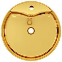 vidaXL Wastafel met overloop 46,5x15,5 cm keramiek goudkleurig