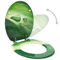 vidaXL Toiletbril met deksel waterdruppel MDF groen