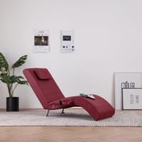vidaXL Massage chaise longue met kussen kunstleer wijnrood