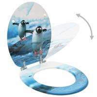 vidaXL Toiletbril met deksel pinguïn MDF