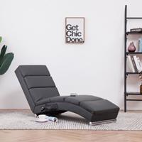 vidaXL Massage chaise longue kunstleer grijs