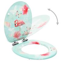 vidaXL Toiletbril met soft-close deksel flamingo MDF