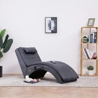 vidaXL Massage chaise longue met kussen kunstsuède grijs