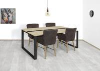 steigerhouttrend Steigerhouten tafel Belton met industriële strip