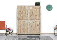 steigerhouttrend Steigerhouten kast Newport op poten met 4 deuren