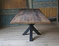 Eetkamertafel Wagon hout Massief 220x100cm met Spinpoot