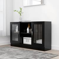 vidaXL Vitrinekast 120x30,5x70 cm spaanplaat zwart