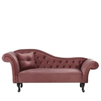 Beliani Chaise longue fluweel roze linkszijdig LATTES