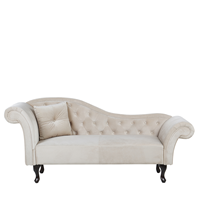 Beliani Chaise longue fluweel beige linkszijdig LATTES