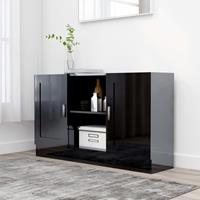 vidaXL Dressoir 120x30,5x70 cm spaanplaat hoogglans zwart