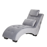 Beliani Chaise longue met Bluetooth speaker fluweel grijs SIMORRE