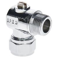Sanivesk kogelkraan Haaks Mini met schroef bediening chroom 15mm x3/8 (knelxbuitendraad)