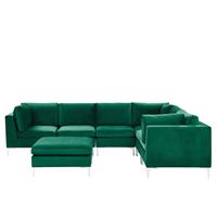 Beliani Hoekbank met ottomaan fluweel groen 6-zits linkszijdig EVJA