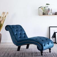 vidaXL Chaise longue fluweel blauw