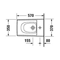 Duravit Viu wandbidet 37x57cm met kraangat met overloop m. WG wit 22921500001