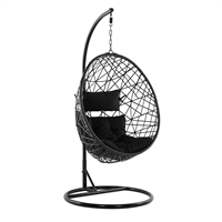 Beliani Hangstoel met standaard rotan zwart ALATRI
