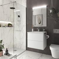 Muebles Ideal badkamermeubel 60cm mat wit met spiegel en spiegellamp