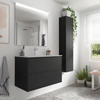 Muebles Ideal badkamermeubel 80cm mat zwart met spiegel en spiegellamp