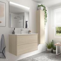 Muebles Ideal badkamermeubel 80cm licht eiken met spiegel en spiegellamp