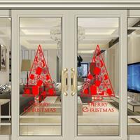 Kerstboom Woonkamer Vensterglas Deur Verwijderbare Waterdichte Kerst Muursticker Decoratie (Rood)