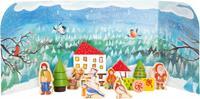 adventskalender Winter 45 x 4,5 cm karton blauw