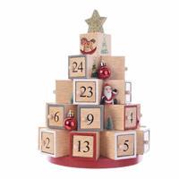 Kerst decoratie adventskalender kerstboom MDF 28 cm -