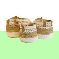 NusaOriginals Mandenset Zeegras Wit (handgemaakte set van 3)