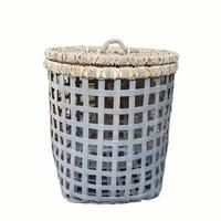 NusaOriginals Handgemaakte Witte Bamboe Wasmand - Groot - 60x50cm