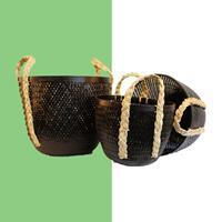NusaOriginals Set Zwarte Bamboe Manden - Handgemaakt - 45-40-35cm