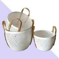 NusaOriginals Set Witte Bamboe Manden - Handgemaakt - 45-40-35cm
