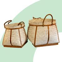 NusaOriginals Mandenset Bali Bamboe Wit (set van 2)
