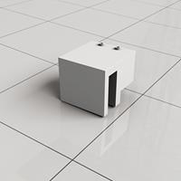 Douche Concurrent Stabilisatiestang Haakse Glaskoppeling Slim Mat Wit