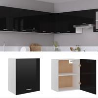 vidaXL Hangkast 50x31x60 cm spaanplaat hoogglans zwart