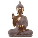 Gold and White With Begging Bowl Thai Buddha Figurine