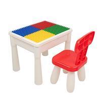 Decopatent Kindertafel met 1 Stoeltje - Speeltafel met bouwplaat en vlakke kant - Tekentafel - Geschikt voor Duplo Bouwstenen
