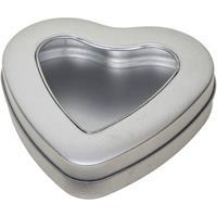 Zilveren Hart Opbergblik/bewaarblik 13 Cm Met Venster - Cadeauverpakking Zilveren Voorraadblikken