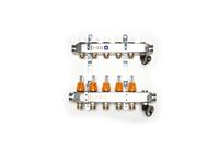 Vloerverwarmingzelfleggen RVS verdeler met flowmeters (Aantal groepen: 2 groeps)