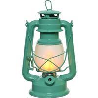Turquoise Blauwe Led Licht Stormlantaarn 24 Cm Met Vlam Effect - Campinglamp/campinglicht - Vuur Led Lamp