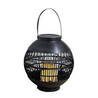 Buiten/tuin Zwarte Rotan Lampionnen/hanglantaarns 23 Cm Solar Buiten Tuinverlichting