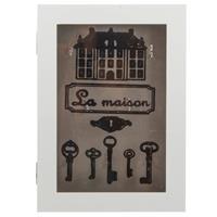 Merkloos Houten Sleutelkast/sleutelkluis Wit La Maison 23 X 32 Cm - Sleutels Opbergen