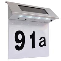 vidaXL LED-huisnummer op zonne-energie roestvrij staal