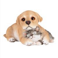 Esschert Design Esschert Pup met kitten polyresin