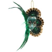 PTMD Venetian mask green hang face with feather