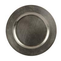 1x Ronde kaarsenborden/onderborden graniet groen glimmend 33 cm -