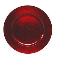 1x Ronde kaarsenborden/onderborden rood glimmend 33 cm -